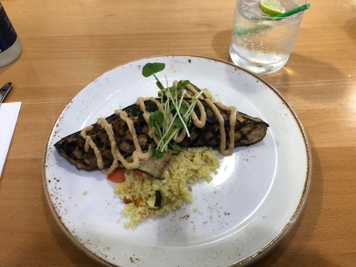 Eggplant dish 8: Roasted char-grilled eggplant with couscous and peanut sauce