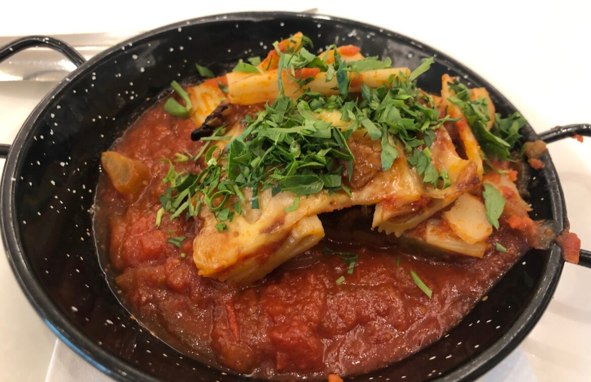 Eggplant dish 46: Baked rigatoni with braised eggplant and tomato sugo